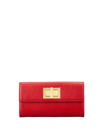 Natalia Continental Turn-Lock Wallet, Flame Red