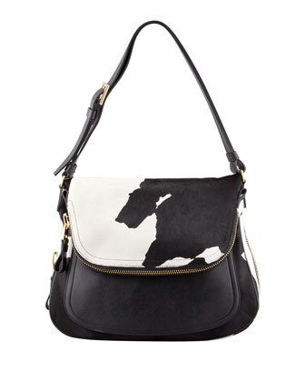 Jennifer Medium Calf Hair Shoulder Bag, Black/White