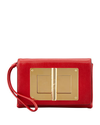 Natalia Turn-Lock Wristlet Bag, Flame Red