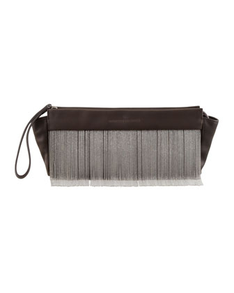 Beaded Fringe Wristlet Clutch Bag, Espresso