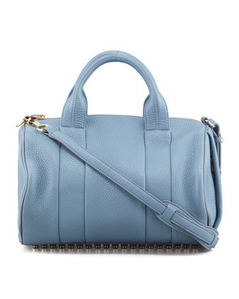 Rocco Stud-Bottom Satchel Bag, Mercury Light Blue/Yellow Golden
