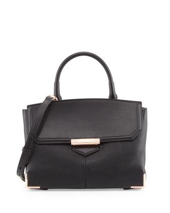 Marion Large Leather Shoulder Bag, Black