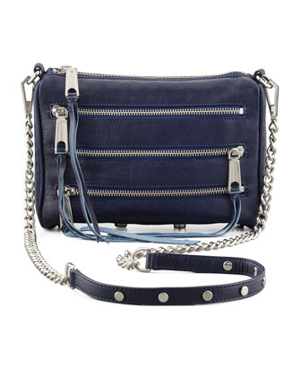 Five-Zip Mini Crossbody Bag, Sapphire