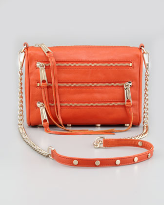 Five-Zip Mini Crossbody Bag, Tangelo
