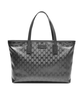 Small GG Zip-Top Tote Bag, Platinum Silver