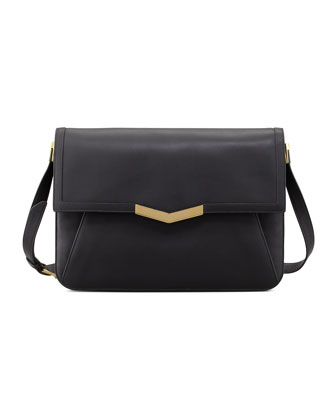Affine Large Calfskin Shoulder Bag, Black/Gold