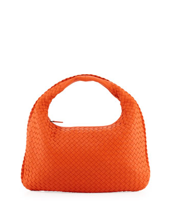Intrecciato Medium Hobo Bag, Tangerine