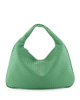 Large Woven Hobo Bag, Mint Green