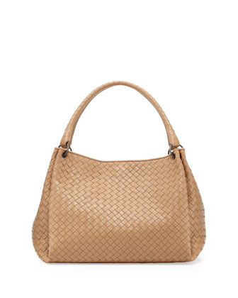 Double-Strap Woven Leather Tote Bag, Taupe