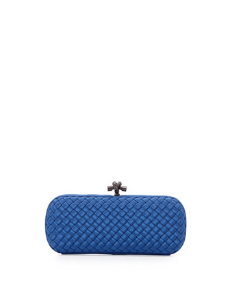 Woven Faille Large Knot Clutch Bag, Electrique Royal