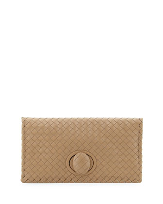 Veneta Turn-Lock Fold-Over Clutch, Walnut Taupe