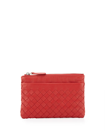 Zip-Top Woven Leather Key Pouch, New Bright Red