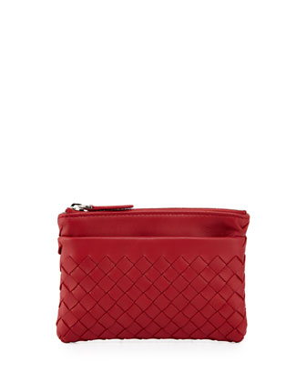 Zip-Top Woven Leather Key Pouch, Fraise Dark Red