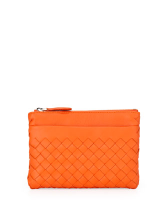Zip-Top Woven Leather Key Pouch, Tangerine Orange