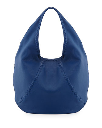 Medium Woven-Detail Cervo Hobo Bag, Electrique Blue