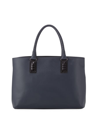 Intrecciato-Trim Stamped Medium Tote Bag, Navy/Black
