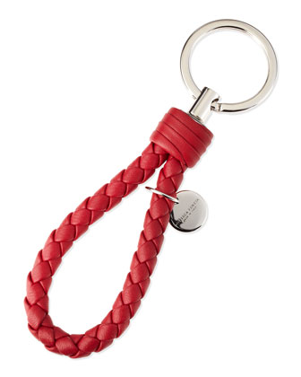 Braided Loop Key Ring, Dark Strawberry Red