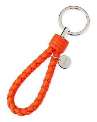 Braided Loop Key Ring, Tangerine Orange