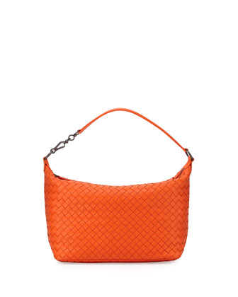 Small East-West Zip Hobo Bag, Tangerine