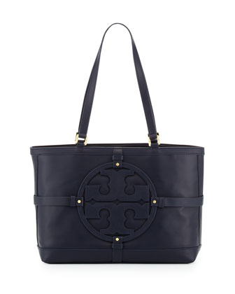 Holly East-West Leather Tote Bag, Navy