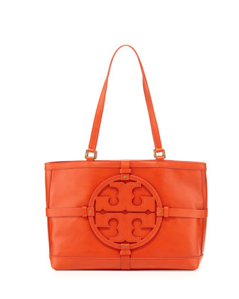 Holly East-West Leather Tote Bag, Blood Orange