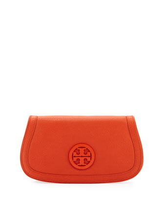 Amanda Logo Clutch Bag, Blood Orange