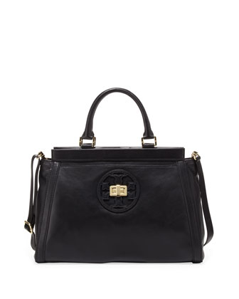 Gloria Leather Logo Satchel Bag, Black