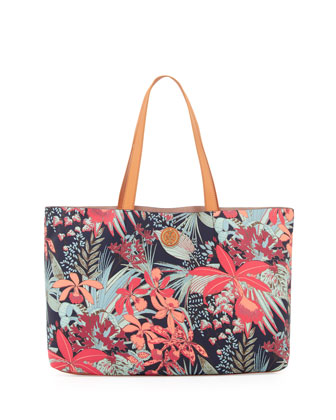 Kerrington Floral East/West Tote Bag, Navy Calathea