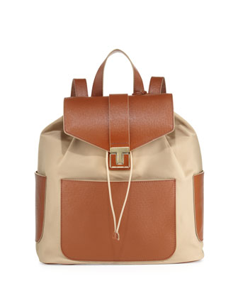 Penn Nylon & Leather Backpack, Camel