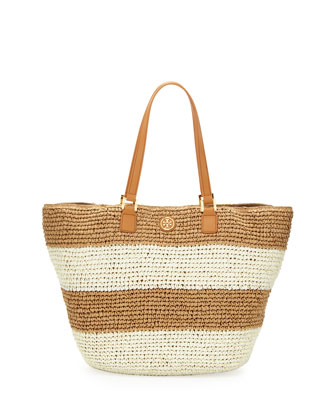 Raffia Striped Tote Bag, Camel/Ivory