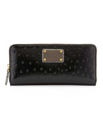 Classic Q Ostrich-Embossed Slim Zip Wallet, Black