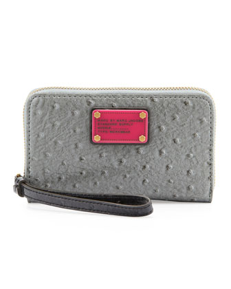Classic Q Wingman Wristlet Zip Wallet, Chrome Multi