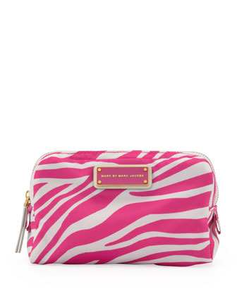Zebra Tech Fabric Cosmetic Case, Gray/Pink