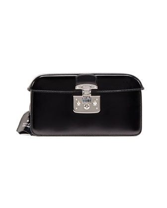 Small Patent Cap-Top Lock Clutch, Black