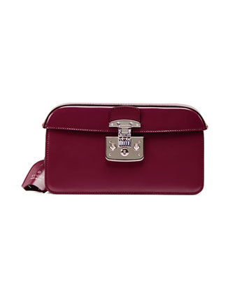 Small Patent Cap-Top Lock Clutch, Purple