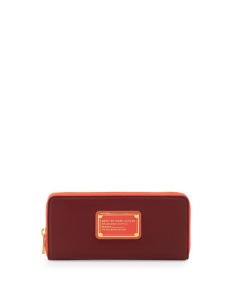 Too Hot to Handle Slim Zip Wallet, Cabernet Multi