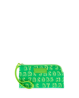 Logo Zip Smart Phone Wristlet Case, Parakeet Green