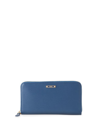 Saffiano Zip-Around Continental Organizer Wallet, Cobalt