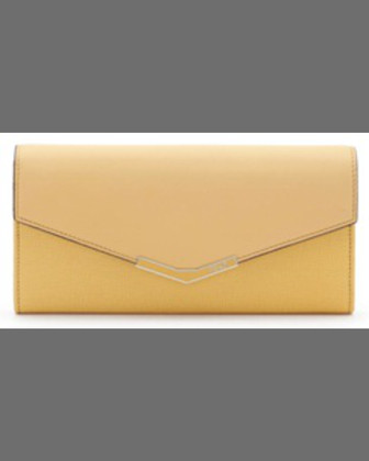 V-Flap Continental Organizer Wallet, Yellow