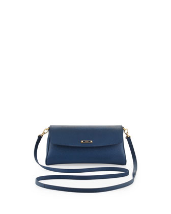 Vitello Elite Mini Flap Crossbody Bag, Cobalt