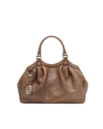 Sukey Small Guccissima Leather Tote Bag, Acero Medium Brown