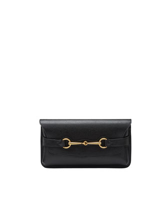 Bright Bit Calfskin Leather Clutch Bag, Nero