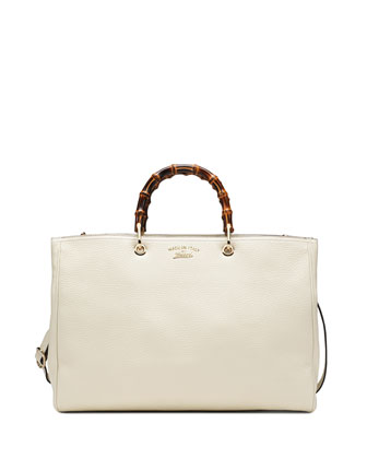 Bamboo Leather Shopper Tote Bag, Mystic White