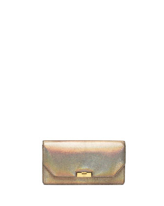 Crackled Metallic Leather Clutch Bag, Fawn