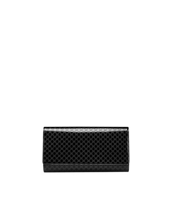 Microguccissima Large Patent Leather Clutch Bag, Nero Black