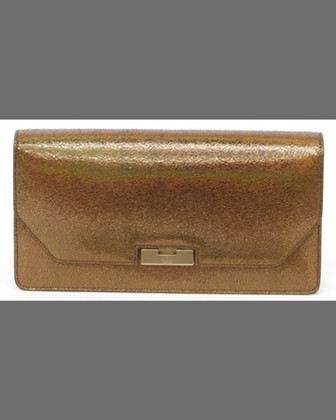 Crackled Metallic Leather Clutch Bag, Bronze
