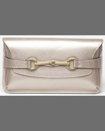 Bright Bit Calfskin Clutch Bag, Dark Shell Gold