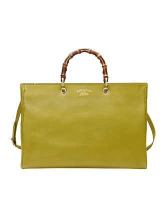Bamboo Large Leather Shopper, Cardamom Green