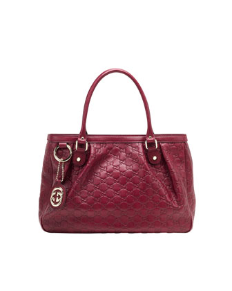 Sukey Large Guccissima Leather Tote Bag, Raspberry Red