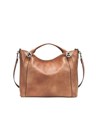 Miss GG Large Leather Top Handle Bag, Old Naturale